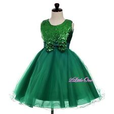 Sequined Tulle Dress Wedding Flower Girl Pageant Formal Occasion Size 3T-8 FG362