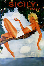 TRAVEL TO SICILY BEACH GIRL ON A TREE ITALY ISLAND SUMMER VINTAGE POSTER REPRO