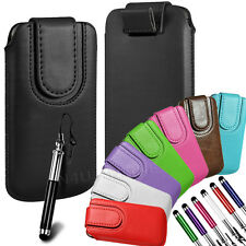 Magnetic Pu Leather Pull Tab Flip Case & Stylus For LG Phones
