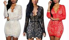 Fashionable Women Long Sleeve Lace Backless Evening Party Bodycon Mini Dress