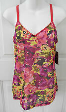 NWT LUCKY BRAND LOUNGE Intimates $36 Pink Floral Stretch Cami Tank Top S M L