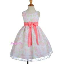 Floral Flower Girl Summer Dress Wedding Easter Holiday Size 4 5 6 7 8 SD013