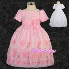 Embossed Flower Girl Dress Wedding Pageant Party Occasion Size 18months to 6 122