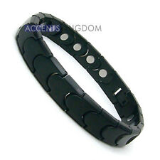 Accents Kingdom Mens Gun Metal Black Magnetic Titanium Power Golf Bracelet T26