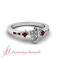 1 Ct Marquise Cut Very Good Diamond & Ruby Channel Set Engagement Ring SI1 GIA