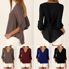 Oversized Women Sexy V-neck Long Sleeve Chiffon T-shirt Button Blouse Loose Tops