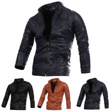 New Mens Fashion Motorcycle jackets collar Slim PU Leather jacket outerwear coat