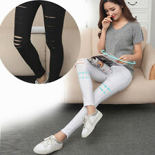 Fashion Womens Sexy Punk Hole Ripped Slit Split Leggings Party Gothic Pants Hot