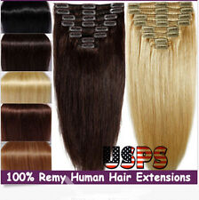 Hot 7 pcs set Clip in Remy Human Hair Extensions Thick  Weft Full Head US Stock