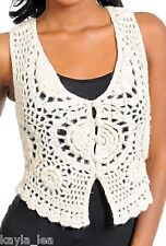Ivory Crochet Button Front Bolero/Shrug/Cardigan Vest Top/Cover-Up