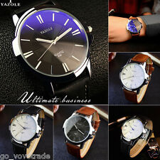 Military Mens Luxury Stainless Steel Quartz Analog Leather Band Dial Wrist Watch