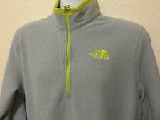 NWT Men The North Face TKA 100 Glacier Fleece 1/4-Zip  Pullover Gray/Lime  $55