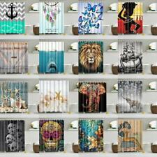 Fabric Waterproof Bathroom Shower Curtain Drape Panel Decor With Ring Hooks Set