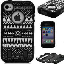 Tribe Pattern Heavy Duty Armor Impact Defender Hard Case Cover For iPhone 4 4S