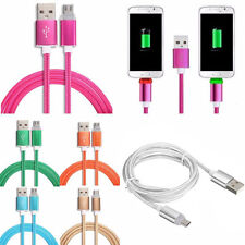 1M/3FT LED Light Braided Micro USB Fast Charger Data Sync Cable Cord for Samsung
