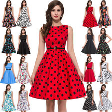 Plus Size Vintage 50s Womens Swing Pinup Dress Cocktail Party Gown Many Prints