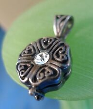 Vintage Filigree Rhinestone Pendant Sterling Silver Pill or Poison Locket Opens