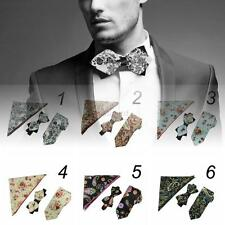 New Mens Cotton Linen Floral Bowtie Self Bow Tie Necktie Square handkerchief Set