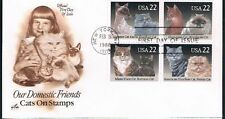 1988 Cats Block of 4 Stamps on one FDC Artcraft Cachet Scott 2375a