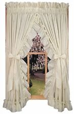 Stephanie Country Ruffled Priscilla Curtains w Tiebacks Primitive Rustic Cottage