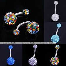 1 pc 14G CZ Crystal Disco Ball Navel Bar Stud Belly Ring Steel Body Piercing