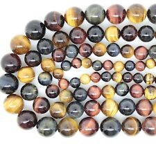 "6 8 10 12 14mm Natural Red Blue Tiger Eye Round Stone Loose Beads 15"" Strand"