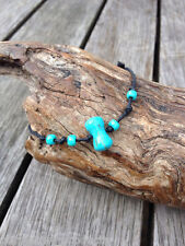 Handmade Hemp Friendship Bracelet or Anklet with Turquoise 'Bone' and seed beads