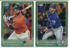 (2) 2015 TOPPS CHROME GREEN REFRACTOR /99 BRANDON BELT, MITCH MORELAND