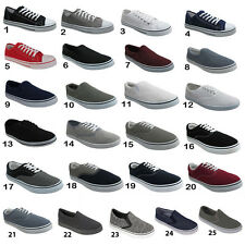Mens Lace up Canvas Shoes Pumps Plimsolls Trainers Sneakers UK 6 7 8 9 10 11 12