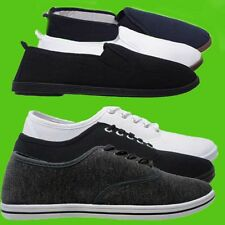 NEW MENS CANVAS TRAINERS PLIMSOLES PLIMSOLLS FLAT SHOE ESPADRILLE PUMP SIZE 7-12