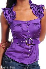 Purple Satin Ruffle Cap Sleeve Button Front Belted Top S
