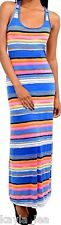 Blue/Pink Multi Stripe Racerback Sleeveless Tank Long Maxi Dress