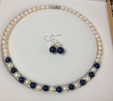7-8mm Natural White Akoya Cultured Pearl/Lapis Lazuli necklace earrings set