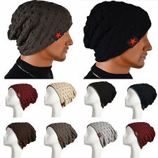 Adult Unisex Autumn Winter Knitted Beanie Reversible Baggy Caps Warm Bonnet Hats