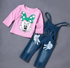 2PCS Baby Girls Minnie Mouse T-shirt Tops+Jeans Pants Set Kids Overalls Outfits