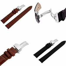 18-24mm Watch Leather Band Strap Pattern Deployant Clasp Buckle+