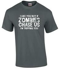 Funny Zombie T-Shirt I Like You But If Zombies Chase Us I'm Tripping You Tee