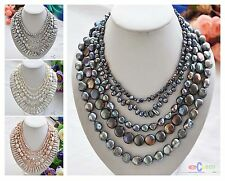"""D0052 5row 20"""" BAROQUE COIN FRESHWATER pearl necklace"""