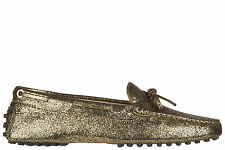 TOD'S WOMEN'S LEATHER LOAFERS MOCCASINS NEW HEAVEN NEW LACCETTO GOLD 62C