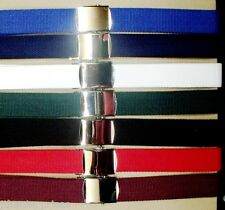 Lawn Bowls Belt Soft Coloured  Webbing Belt  Silver Buckle  fits up to 48 inch