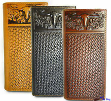 Montana West® Genuine Leather, Tooled Longhorn Bi-Fold Wallet/Checkbook Cover