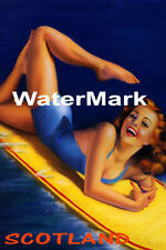 SURF SCOTLAND BEACH GIRL WATER BOARD SURFING FUN TRAVEL VINTAGE POSTER REPRO