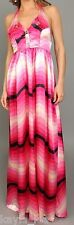 Pink Satin Ombre Zig-Zag/Chevron Stripe Smocked Back Halter Maxi Dress S/M/L