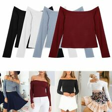 Womens Sexy Knit Tops Off Shoulder Tank Tops Sweater Crop Top T-shirt Blouse AS
