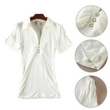 Stylish Women Short Sleeve Three Button Slim Fit Casual Shirts Solid T-Shirts