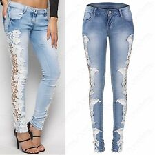 NEW LADIES CROCHET SIDE LACE JEANS WOMENS BLUE STRETCH DENIM SKINNY FIT PANTS