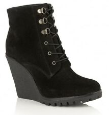 RAVEL TRINITY BLACK SUEDE UPPER CLEATED SOLE  WEDGELACE ANKLE BOOT 1O cm