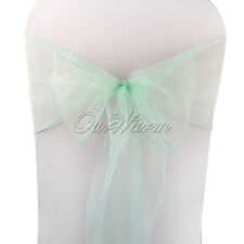10/50/100pcs Wedding Venue Decor Chair Organza Sash Bow Aqua Green/Mint Green