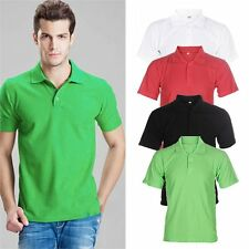 Solid Color Mens Lapel POLO Shirt Short Sleeve Casual Tee T-shirt Sizes M-3XL TR
