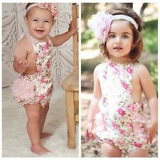 New Infant Toddler Baby Girls Cotton Rose Flower Bodysuit Romper Jumpsuit Outfit